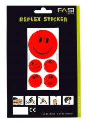 FASI Reflex Sticker Smiley rot 5 Sticker/Bogen